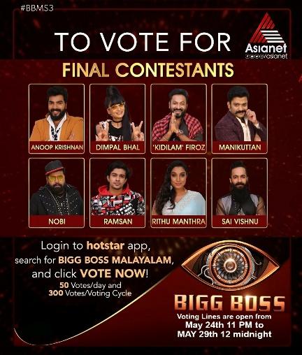 Bigg Boss Malayalam season 3 Final Voting, Winner Announcement
